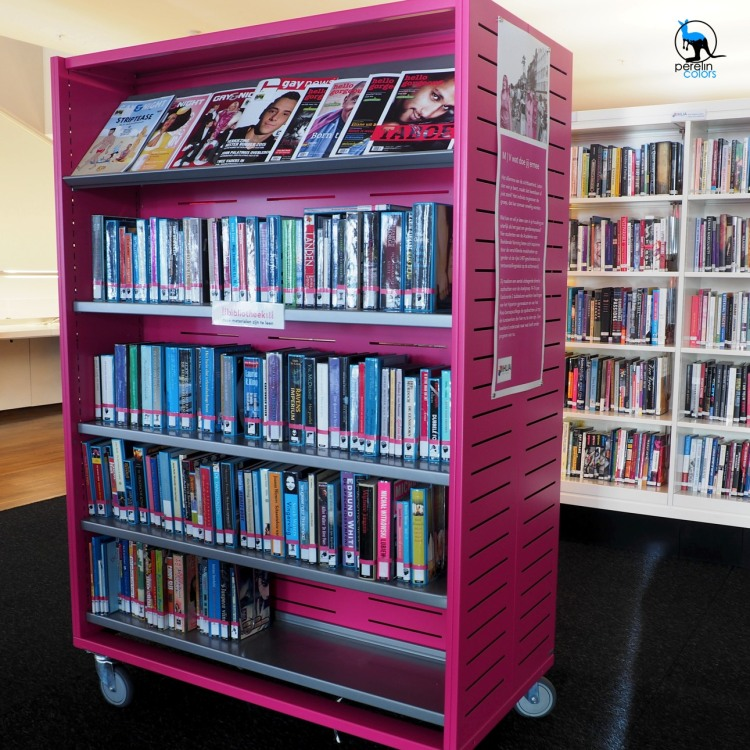 A dash of color in the bright and modern library