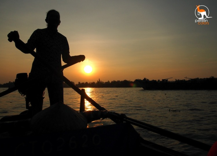 Rowing on the Mekong