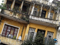 Yellow buildings in Hanoi