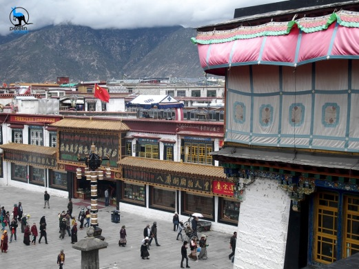 The main square in Lhasa is under careful watch.