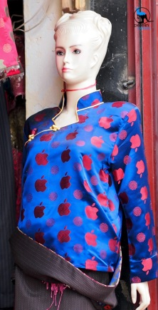 A modern yet traditional dress on sale in Lhasa