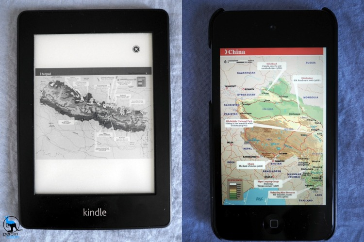 Maps on an eBook reader and on an iPod (not to scale)