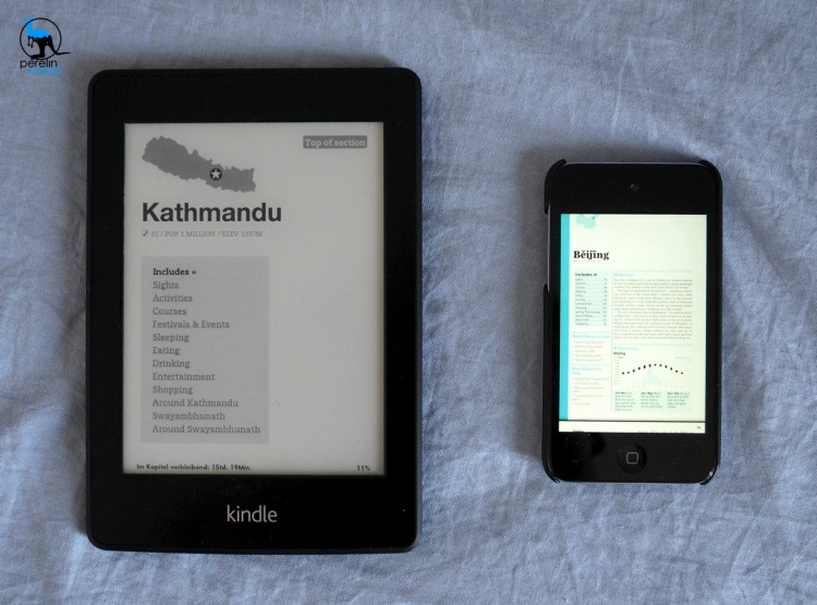 Size comparison between a Kindle and an iPod. Ebooks are more gentle to the eye than PDFs on a standard device