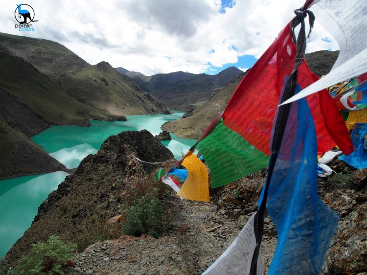 Lake with Tibetan prayer flags