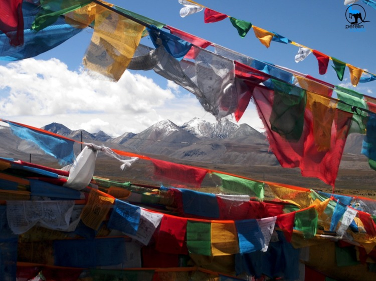 Mountain view with prayer flags.
