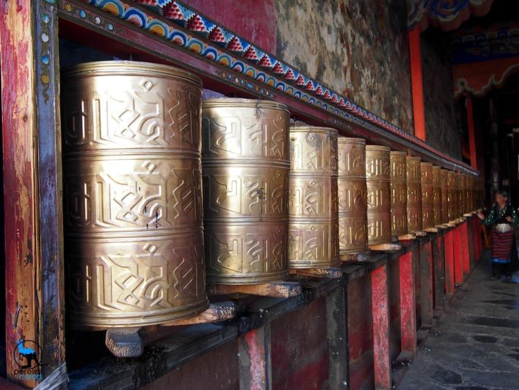 Prayer wheels in Sakya monastery