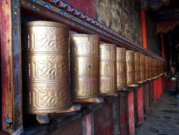 Prayer wheels in Sakya monastery
