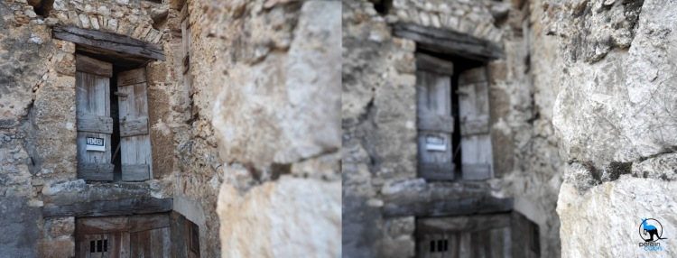 On the left: a house for sale in Italy. On the right: a wall in Italy.