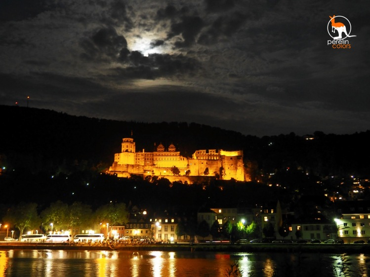 The illuminated castle ruins of Heidelberg.