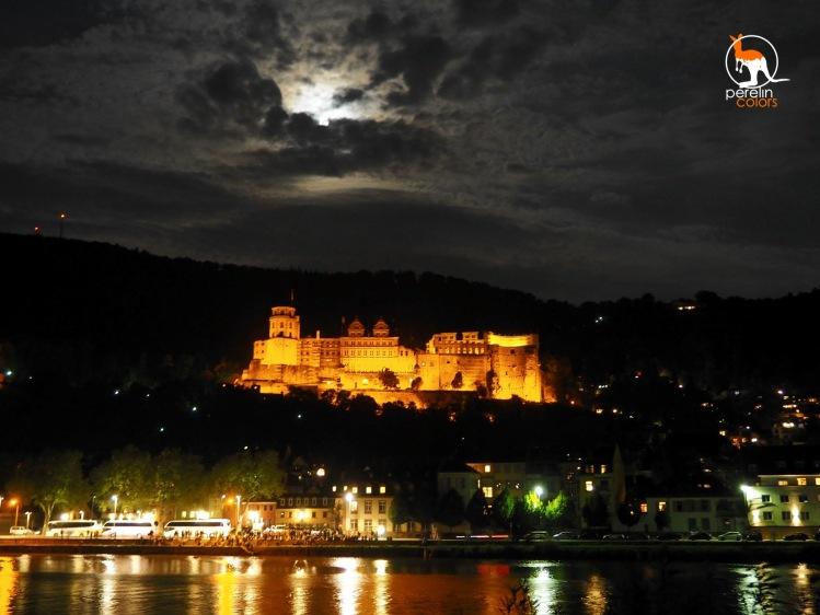 The illuminated castle ruins of Heidelberg.