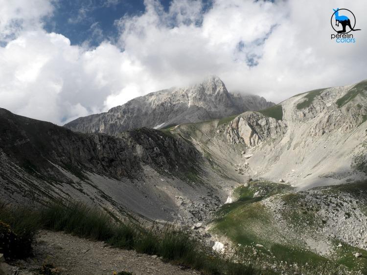 View towards Corno Grande, the highest peak around - Olympus OMD E-M10 at 14mm (28mm equivalent), F7.1, 1/320
