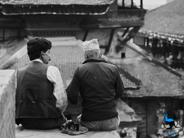 Two Nepali men chatting on Durbar Square.