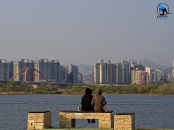 Enjoying the view over the Han river.