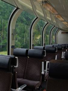Windows in the Bernina Express cars.